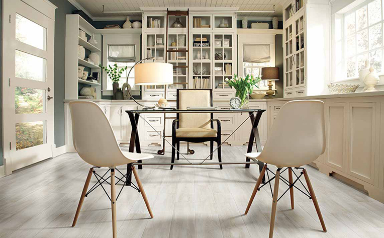 Bright home office with light colored flooring